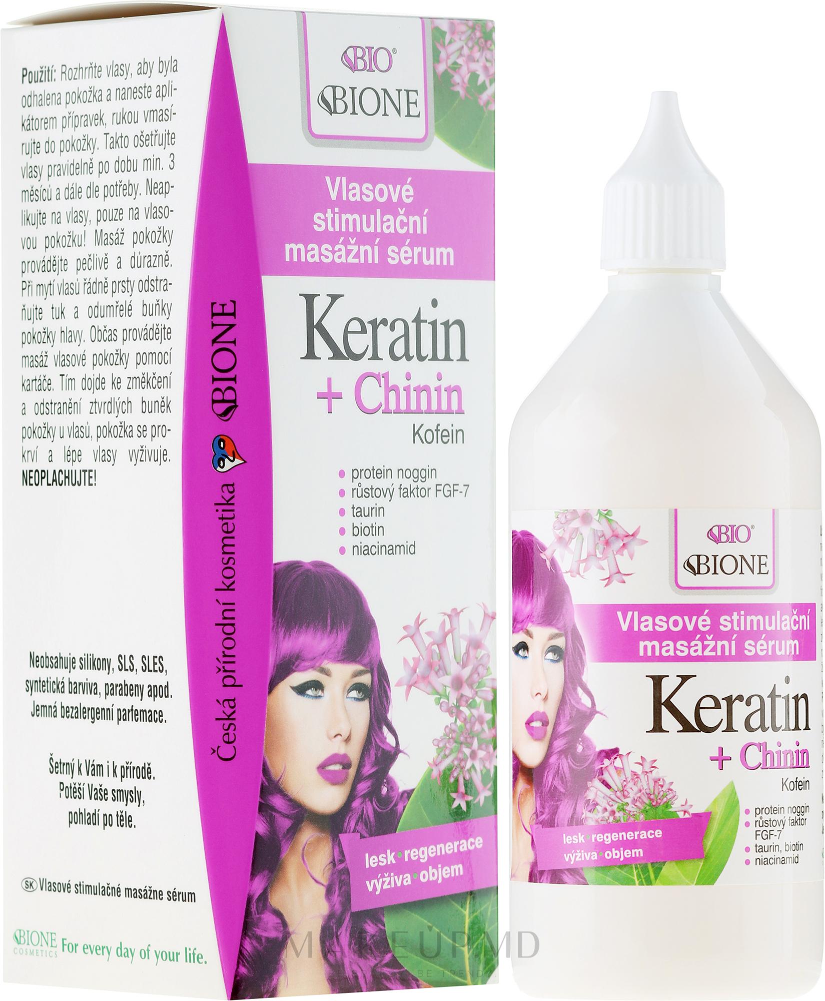 Ser pentru păr - Bione Cosmetics Keratin + Quinine Stimulating Massaging Hair Serum — Imagine 215 ml