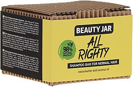 Parfumuri și produse cosmetice Șampon solid cu ulei de cocos și cacao pentru păr normal - Beauty Jar Hair Care All Righty Shampoo