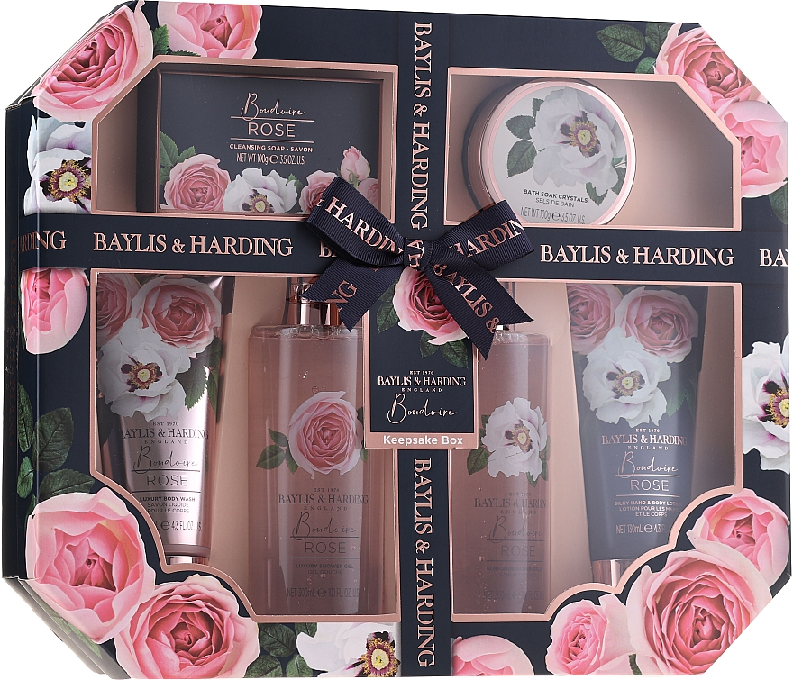 Set - Baylis & Harding Boudoire Rose Set (sh/gel/130ml + sh/gel/300ml + lot/130ml + crystals/100g + bath/f/300ml + soap/100g) — Imagine N1