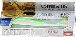 """Parfumuri și produse cosmetice Set """"Pentru iubitori de ceai și cafea"""", pastă+periuță verde - White Glo Coffee & Tea Drinkers Formula Whitening Toothpaste (toothpaste/100ml + toothbrush)"""