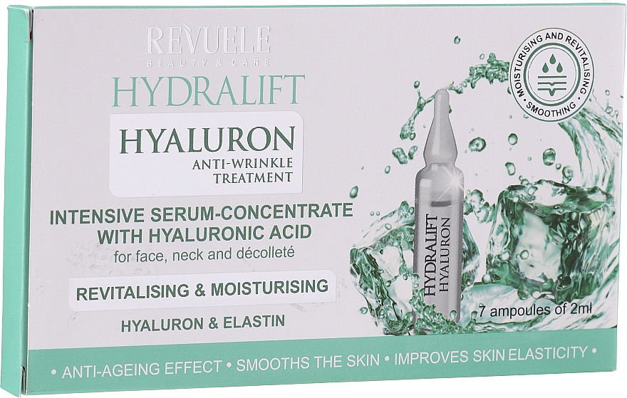 Ser concentrat cu acid hialuronic, fiole - Revuele Hydralift Hyaluron Anti-Wrinkle Treatment