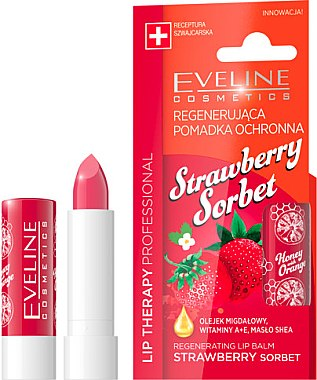 "Balsam de buze ""Căpșuni"" - Eveline Cosmetics Lip Therapy Proffesional Regenearting Lip Balm Strawberry Sorbet — Imagine N1"