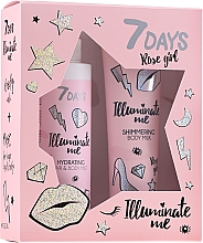 Parfumuri și produse cosmetice Set - 7 Days Illuminate Me Rose Girl (b/milk/150ml + mist/180ml)