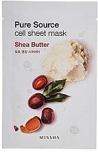Parfumuri și produse cosmetice Mască nutritivă pentru față - Missha Pure Source Sheet Mask Shea Butter