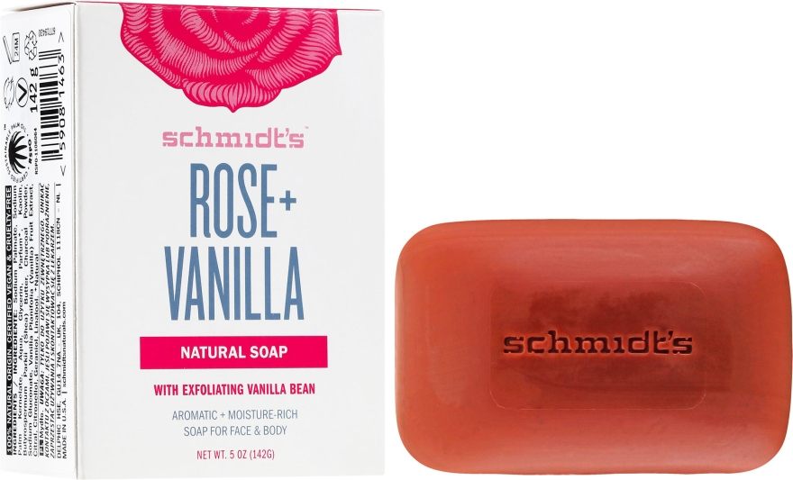 Săpun - Schmidt's Naturals Bar Soap Rose Vanilla — Imagine N1