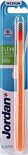Parfumuri și produse cosmetice Periuță de dinți, medie, portocalie-gri - Jordan Clean Smile Medium