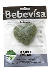 """Parfumuri și produse cosmetice Burete pentru curățarea feței, inimă """"Ceai verde"""" - Bebevisa Konjac Sponge"""