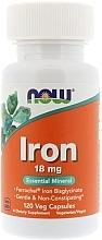 """Parfumuri și produse cosmetice Capsule """"Fier"""", 18 mg. - Now Foods Iron"""