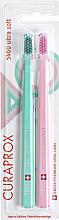 """Parfumuri și produse cosmetice Set periute de dinti, 5460 Ultra Soft """"Retro Edition"""", menta, roz pal - Curaprox"""