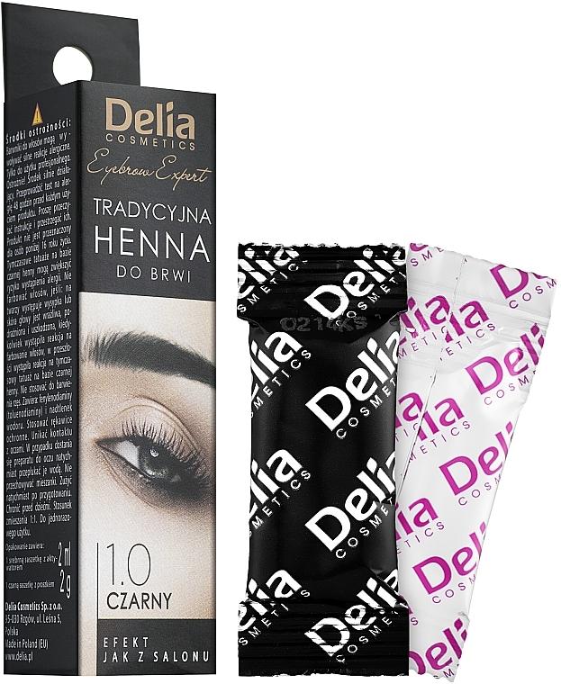 Vopsea praf pentru sprâncene - Delia Brow Dye Henna Traditional Black