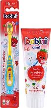 Parfumuri și produse cosmetice Set pastă+periuță de dinți, galben-albastru, 1-6 ani - Bobini (toothbrush/1pc + toothpaste/75ml)