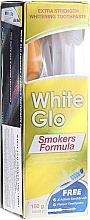 Parfumuri și produse cosmetice Set, perie albastră - White Glo Smokers Formula (toothpaste/100ml + toothbrush + toothpicks)
