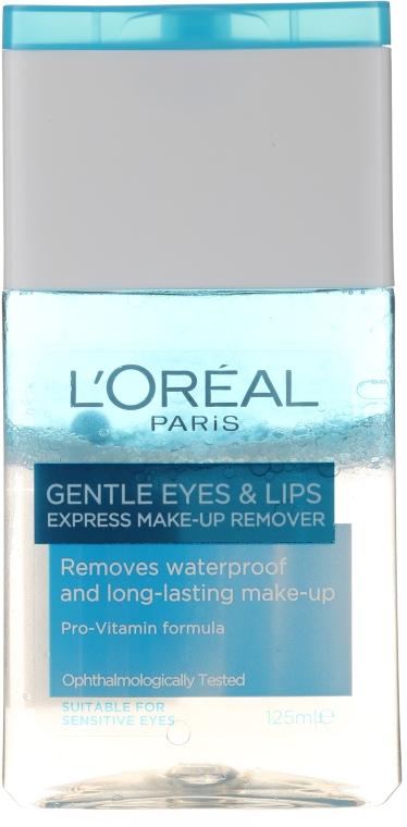 Loțiune demachiantă pentru buze și ochi - L'Oreal Paris Gentle Eyes&Lips Express Make-Up Remover Waterproof