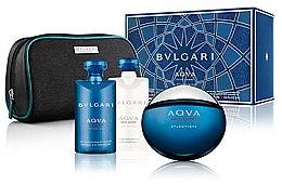 Parfumuri și produse cosmetice Bvlgari Aqva Pour Homme Atlantiqve - Set (edt/100ml + sh/gel/75 + af/sh/balm/75ml + bag)