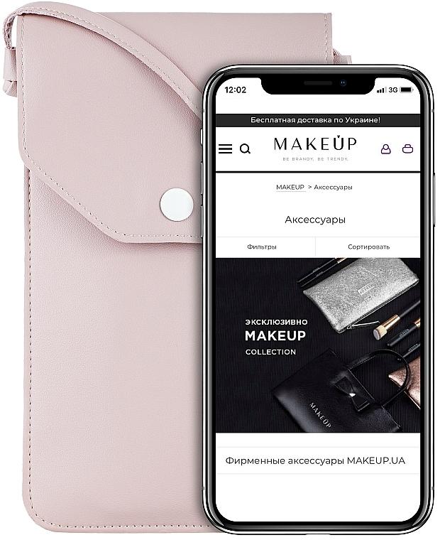 """Husă-gentuță pentru telefon, roz pudrat """"Cross"""" - Makeup Phone Case Crossbody Powder"""