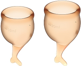 Parfumuri și produse cosmetice Set cupe menstruale cu codițe, portocaliu - Satisfyer Feel Secure Menstrual Cups