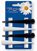 Parfumuri și produse cosmetice Agrafe de păr 4 bucăți, alb-negru - Top Choice