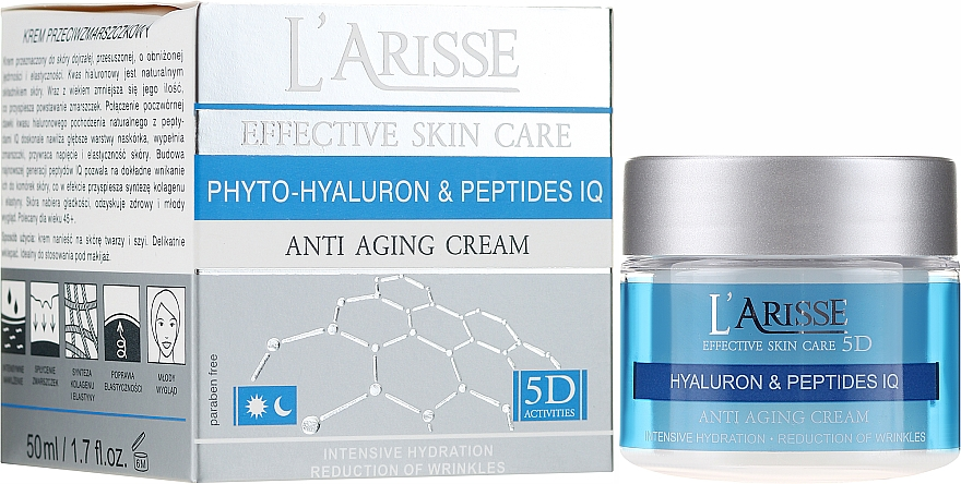 Cremă anti-rid cu acid hialuronic - Ava Laboratorium L'Arisse 5D Anti-Wrinkle Cream Phytohyaluron + Peptides — Imagine N1