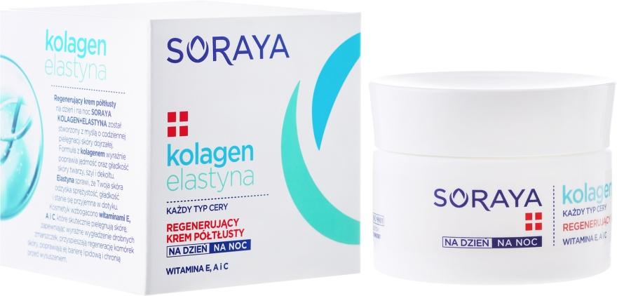 Cremă regeneratoare cu textură ușoară antirid - Soraya Collagen + Elastin Regenerating Semi-Rich Day and Night Cream — Imagine N1