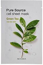Parfumuri și produse cosmetice Mască hidratantă pentru față cu ceai verde - Missha Pure Source Sheet Mask Green Tea